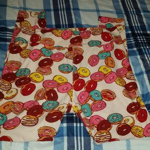 Lularoe TC Leggings Donuts Pink Tall & Curvy